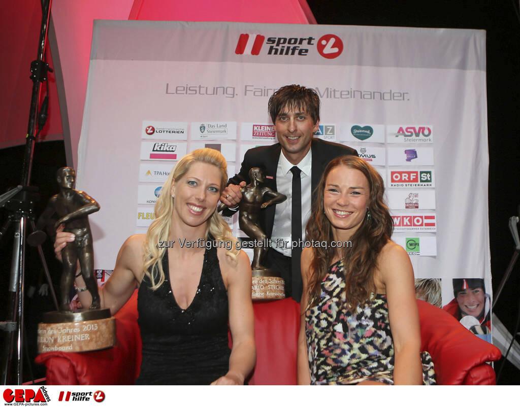Marion Kreiner, Mario Stecher (AUT) und Tina Maze (SLO), Foto: GEPA pictures/ Markus Oberlaender (08.05.2013)