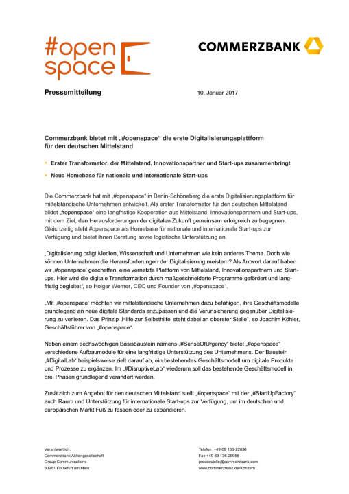 """Commerzbank bietet mit """"#openspace"""" erste Digitalisierungsplattform, Seite 1/2, komplettes Dokument unter http://boerse-social.com/static/uploads/file_2049_commerzbank_bietet_mit_openspace_erste_digitalisierungsplattform.pdf"""