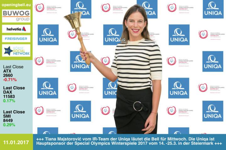 #openingbell am 11.1.: Tiana Majstorović vom IR-Team der Uniqa läutet die Bell für Mittwoch. Die Uniqa ist Hauptsponsor der Special Olympics Winterspiele 2017 vom 14. -25.3. in der Steiermark http://www.uniqa.at http://www.specialolympics.at/sowwg-2017.html https://www.facebook.com/groups/GeldanlageNetwork/ https://www.facebook.com/groups/Sportsblogged