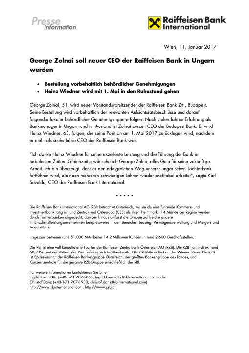 George Zolnai soll neuer CEO der Raiffeisen Bank in Ungarn werden, Seite 1/1, komplettes Dokument unter http://boerse-social.com/static/uploads/file_2051_george_zolnai_soll_neuer_ceo_der_raiffeisen_bank_in_ungarn_werden.pdf