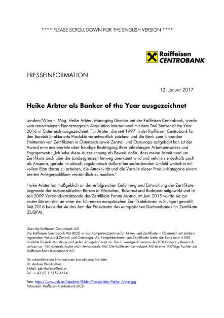 Heike Arbter als Banker of the Year ausgezeichnet, Seite 1/1, komplettes Dokument unter http://boerse-social.com/static/uploads/file_2052_heike_arbter_als_banker_of_the_year_ausgezeichnet.pdf (12.01.2017)