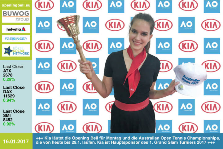 #openingbell am 16.1.: Kia läutet die Opening Bell für Montag und die Australian Open Tennis Championships, die von heute bis 29.1. laufen. Der Autohersteller ist Hauptsponsor des 1. Grand Slam Turniers 2017 http://www.kia.com/at/ http://www.ausopen.com/ https://www.facebook.com/groups/Sportsblogged