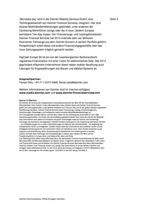 Daimler Financial Services übernimmt PayCash Europe SA, Seite 2/2, komplettes Dokument unter http://boerse-social.com/static/uploads/file_2061_daimler_financial_services_ubernimmt_paycash_europe_sa.pdf