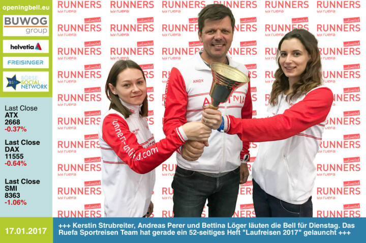 #openingbell am 17.1.:  Kerstin Strubreiter, Andreas Perer und Bettina Löger läuten die Bell für Dienstag. Das Ruefa Sportreisen Team hat gerade ein 52-seitiges Heft Laufreisen 2017 gelauncht  http://www.runners-unlimited.com https://www.facebook.com/groups/Sportsblogged