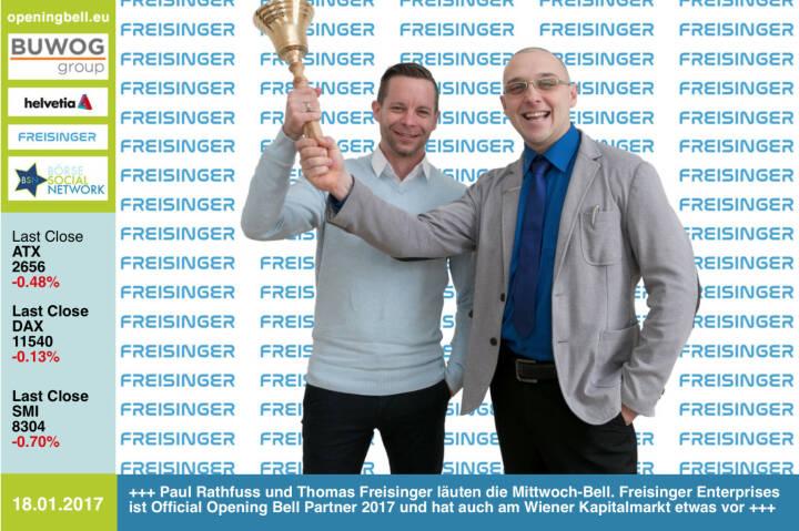 #openingbell am 18.1.:  Paul Rathfuss und Thomas Freisinger läuten die Mittwoch-Bell. Freisinger Enterprises ist Official Opening Bell Partner 2017 und hat auch am Wiener Kapitalmarkt etwas vor  http://www.freisinger-enterprises.at https://www.facebook.com/groups/GeldanlageNetwork/