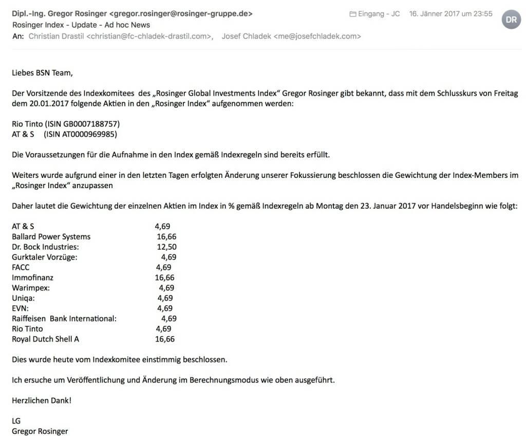 Indexevent Rosinger-Index 17: Aufnahme Rio Tinto und AT&S per Schlusskurse 20.1.2017 (21.01.2017)