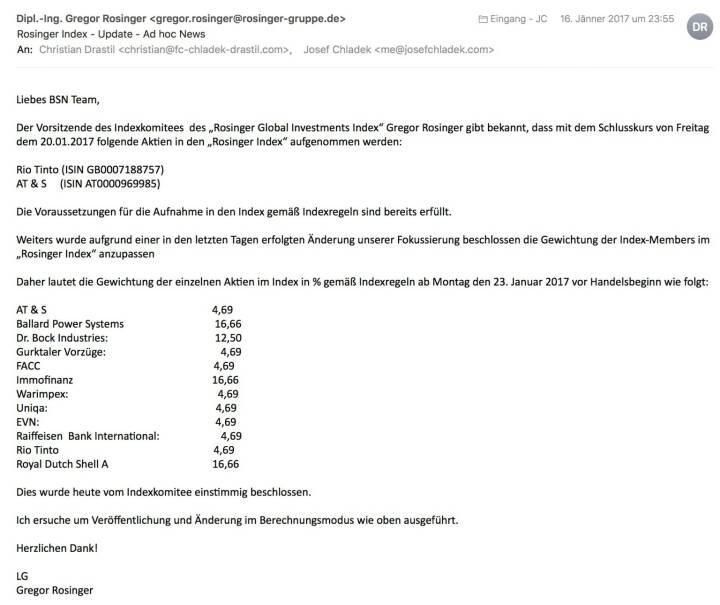 Indexevent Rosinger-Index 17: Aufnahme Rio Tinto und AT&S per Schlusskurse 20.1.2017