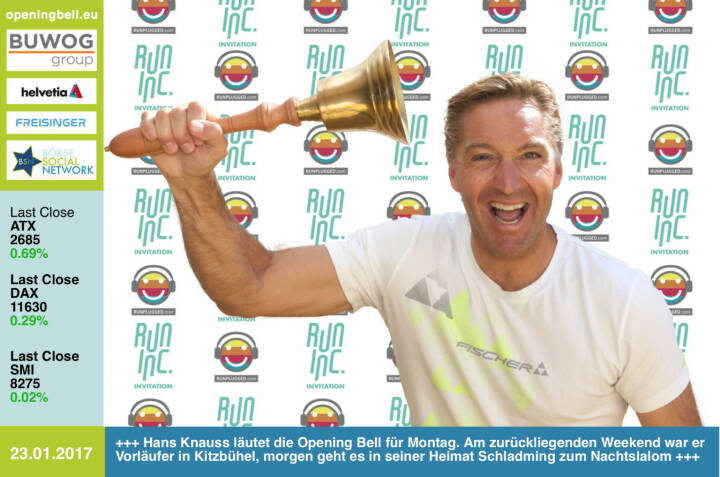#openingbell am 23.1.: Hans Knauss läutet die Opening Bell für Montag. Am zurückliegenden Weekend war er Vorläufer in Kitzbühel, morgen geht es in seiner Heimat Schladming zum Nachtslalom http://www.hans-knauss.com . Runinc-Invitation also nicht nur für Läufer, sondern auch für Vorläufer.  http://www.runinc.at http://www.runplugged.com  https://www.facebook.com/groups/Sportsblogged