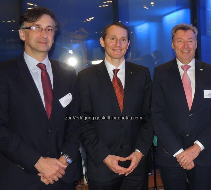 Johann Schachner (Atos), Stefan Dörfler (Erste Bank) sowie Viktor Wagner (Reiwag)  - Wirtschaftsforum der Führungskräfte: Neujahrsempfang über den Dächern von Wien (Bild: A. Raab/WdF)