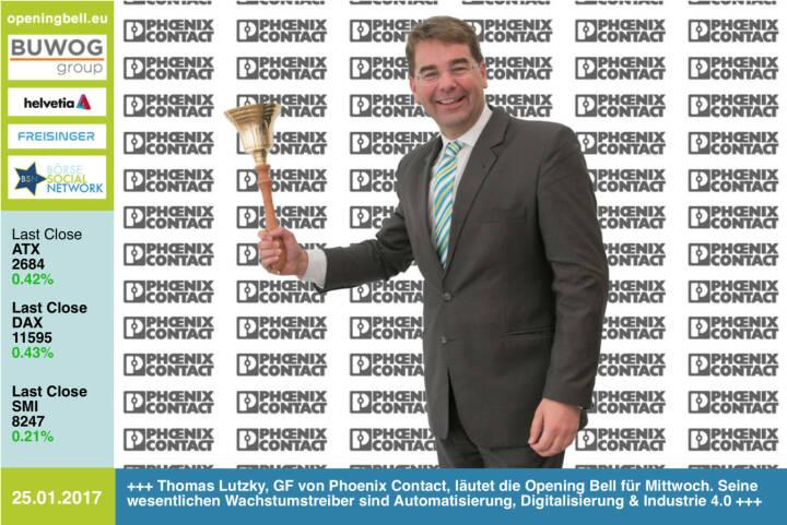 #openingbell am 25.1.:  Thomas Lutzky, GF von Phoenix Contact, läutet die Opening Bell für Mittwoch. Seine wesentlichen Wachstumstreiber sind Automatisierung, Digitalisierung & Industrie 4.0 https://www.phoenixcontact.com/online/portal/at https://www.facebook.com/groups/GeldanlageNetwork/