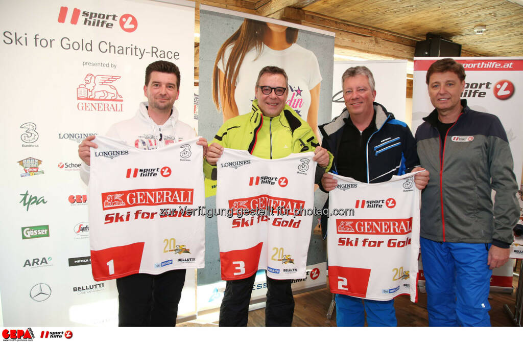 Ski for Gold Charity Race. Image shows Andre Bindlechner, Markus Murgg, Wolfgang Gratzer and managing director Harald Bauer (Sporthilfe). Photo: GEPA pictures/ Harald Steiner (26.01.2017)