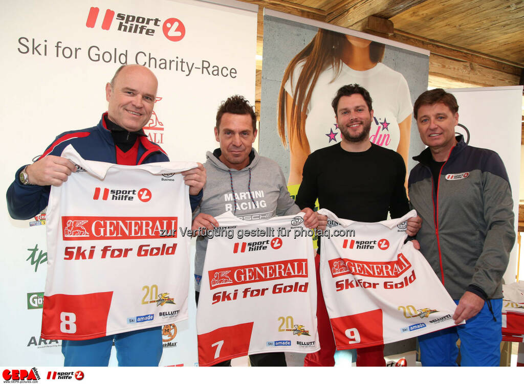 Ski for Gold Charity Race. Image shows Rudi Obauer, Roman Weissenstein, Gilbert Thoeress and managing director Harald Bauer (Sporthilfe). Photo: GEPA pictures/ Harald Steiner (26.01.2017)
