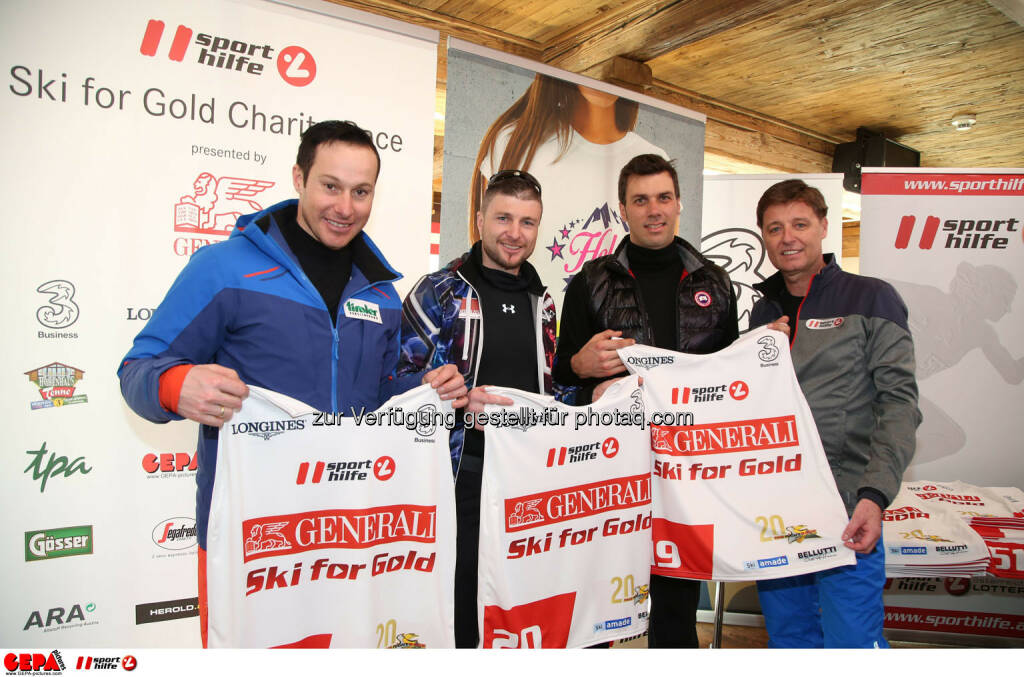Ski for Gold Charity Race. Image shows Manfred Pranger, Reinfried Herbst, Mario Matt and managing director Harald Bauer (Sporthilfe). Photo: GEPA pictures/ Harald Steiner (26.01.2017)