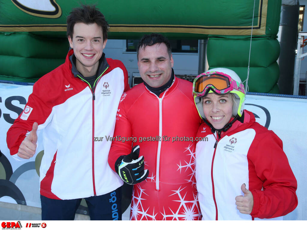 Ski for Gold Charity Race. Image shows Philipp Hansa, Thomas Praxmarer and Ricarda Huber. Photo: GEPA pictures/ Harald Steiner (26.01.2017)