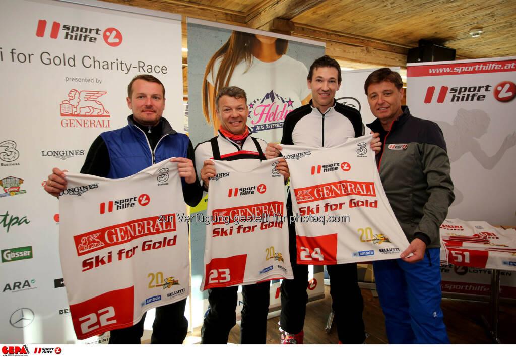 Ski for Gold Charity Race. Image shows Herwig Langganger, Christian Reslhuber, Christoph Stadler and managing director Harald Bauer (Sporthilfe). Photo: GEPA pictures/ Daniel Goetzhaber (26.01.2017)