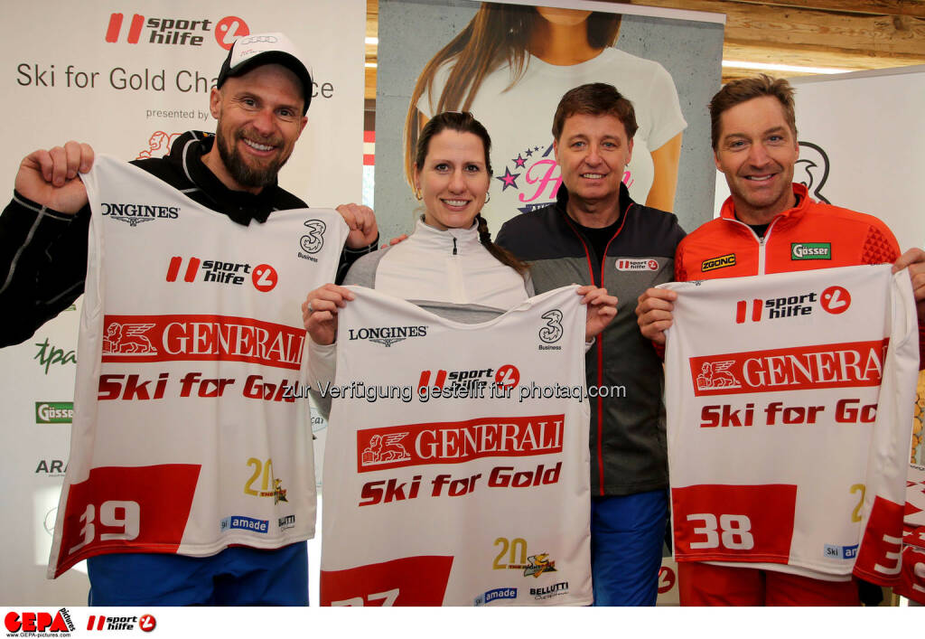 Ski for Gold Charity Race. Image shows Marco Buechel, Brigitte Kliment-Obermoser, managing director Harald Bauer (Sporthilfe) and Hans Knauss. Photo: GEPA pictures/ Daniel Goetzhaber (26.01.2017)