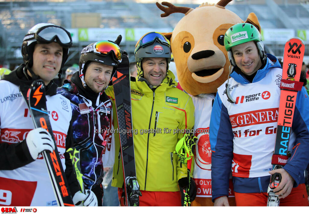 Ski for Gold Charity Race. Image shows Mario Matt, Reinfried Herbst, Hans Knauss, maskot Luis and Manfred Pranger. Keywords: Special Olympics World Winter Games, SOWWG Austria 2017 preview. Photo: GEPA pictures/ Daniel Goetzhaber (26.01.2017)