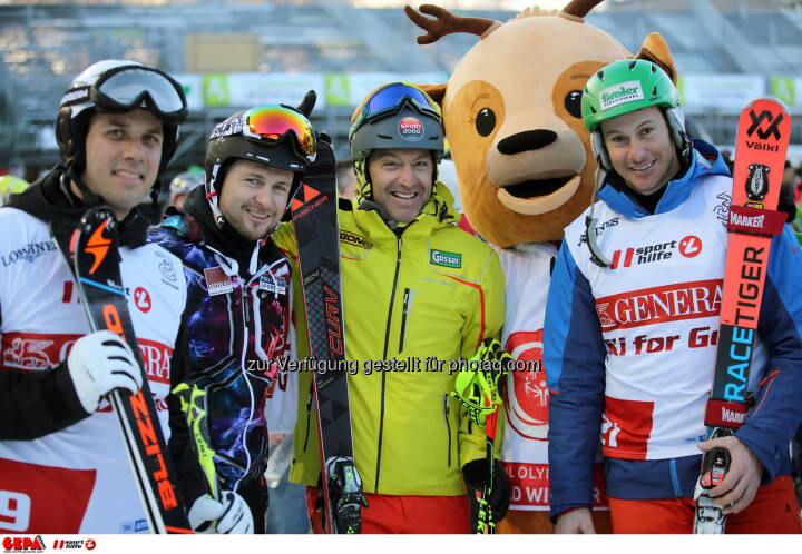 Ski for Gold Charity Race. Image shows Mario Matt, Reinfried Herbst, Hans Knauss, maskot Luis and Manfred Pranger. Keywords: Special Olympics World Winter Games, SOWWG Austria 2017 preview. Photo: GEPA pictures/ Daniel Goetzhaber