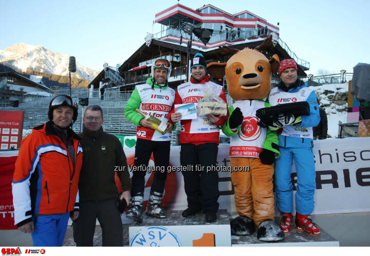 Ski for Gold Charity Race. Image shows managing director Harald Bauer (Sporthilfe), Hannes Zeichen, Thomas Praxmarer, Gilbert Thoeress and maskot Luis. Keywords: Special Olympics World Winter Games, SOWWG Austria 2017 preview. Photo: GEPA pictures/ Daniel Goetzhaber