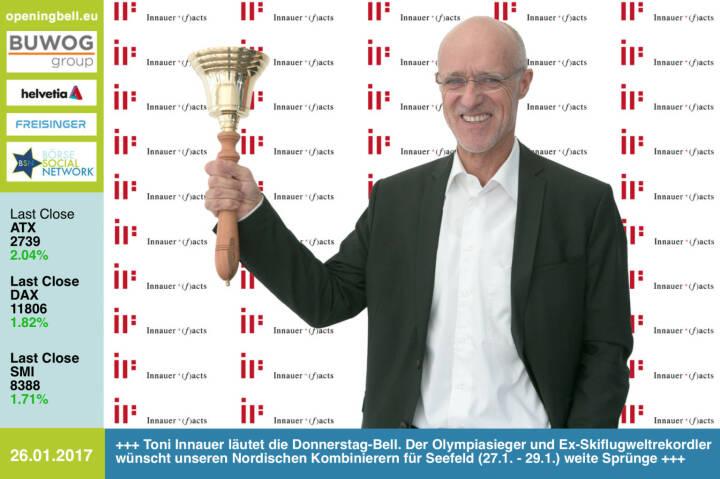 #openingbell am 26.1.: Toni Innauer läutet die Opening Bell für Donnerstag. Der Olympiasieger und Ex-Skiflugweltrekordler wünscht unseren Nordischen Kombinierern für das Seefeld-Triple  (27.1. - 29.1.) weite Sprünge  http://www.innauerfacts.at https://www.facebook.com/groups/Sportsblogged http://www.runplugged.com https://www.facebook.com/groups/GeldanlageNetwork/