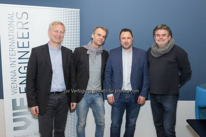 Johannes Pesendorfer (pumar), Andreas Machalek (pumar), Horst Lukaseder (Geschäftsführer VI-Engineers), Martin Mostböck - Vienna International Engineers: Immobilienentwickler VI-ENGINEERS feiert Jahresauftakt mit prominenten Gästen in neuem Office (Fotocredit: Vienna International Engineers/APA-Fotoservice/Buchacher)