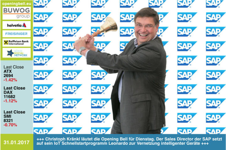 #openingbell am 31.1.: Christoph Kränkl läutet die Opening Bell für Dienstag. Der Sales Director der SAP setzt auf sein IoT Schnellstartprogramm Leonardo zur Vernetzung intelligenter Geräte http://www.sap.com/ https://www.facebook.com/groups/GeldanlageNetwork/