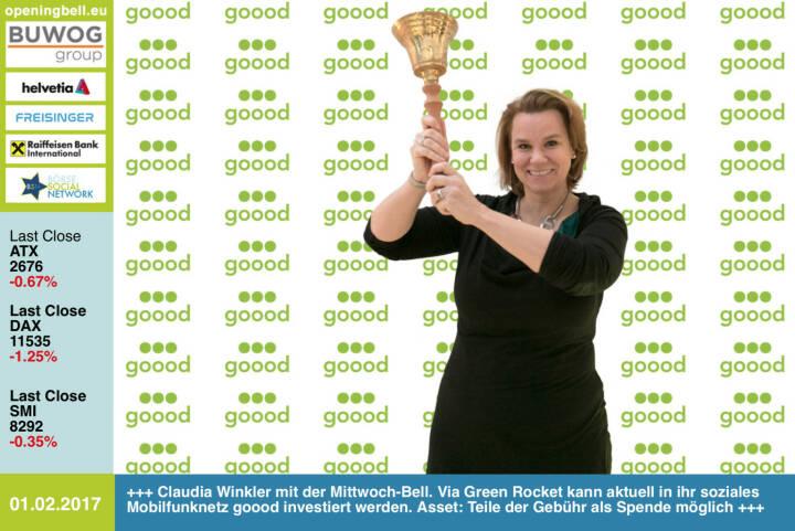#openingbell am 1.2.: Claudia Winkler läutet die Opening Bell für Mittwoch. Via Green Rocket kann aktuell in ihr soziales Mobilfunknetz goood investiert werden. Asset: Teile der Gebühr als Spende möglich www.goood.de/facebook.com/gooodmobile https://www.greenrocket.com/goood https://www.facebook.com/groups/GeldanlageNetwork/