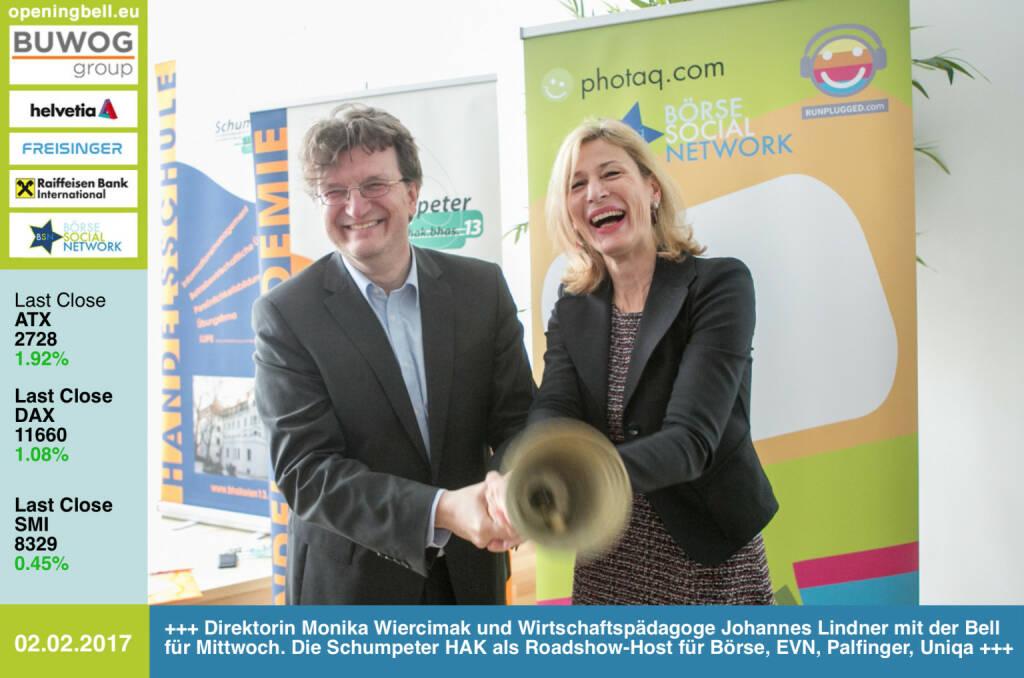 #openingbell am 2.2.: Direktorin Monika Wiercimak und Wirtschaftspädagoge Johannes Lindner läuten nach dem Mittwoch-Event die Opening Bell für Donnerstag. Die Schumpeter HAK war Host für Wiener Börse, EVN, Palfinger und Uniqa im Rahmen der BSN Roadshow #66 http://www.boerse-social.com/roadshow http://bhakwien13.at https://www.facebook.com/groups/GeldanlageNetwork/ (02.02.2017)