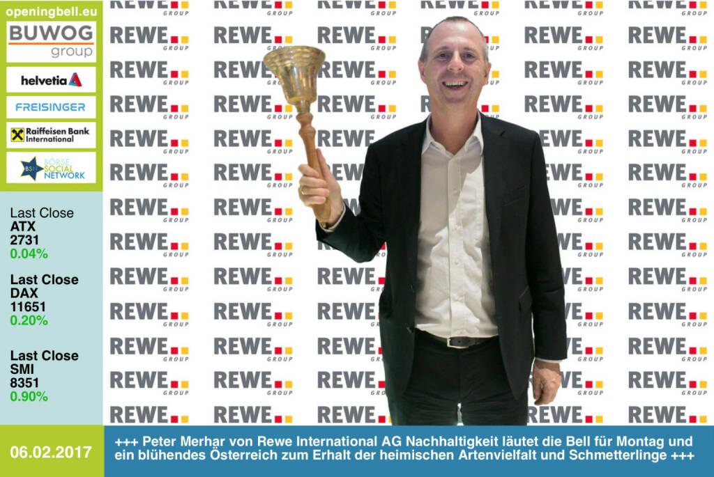 #openingbell am 6.2.: Peter Merhar von Rewe International AG Nachhaltigkeit läutet die Opening Bell für Montag und ein blühendes Österreich zum Erhalt der heimischen Artenvielfalt und  Schmetterlinge  https://www.bluehendesoesterreich.at/ https://www.facebook.com/groups/GeldanlageNetwork/ (06.02.2017)