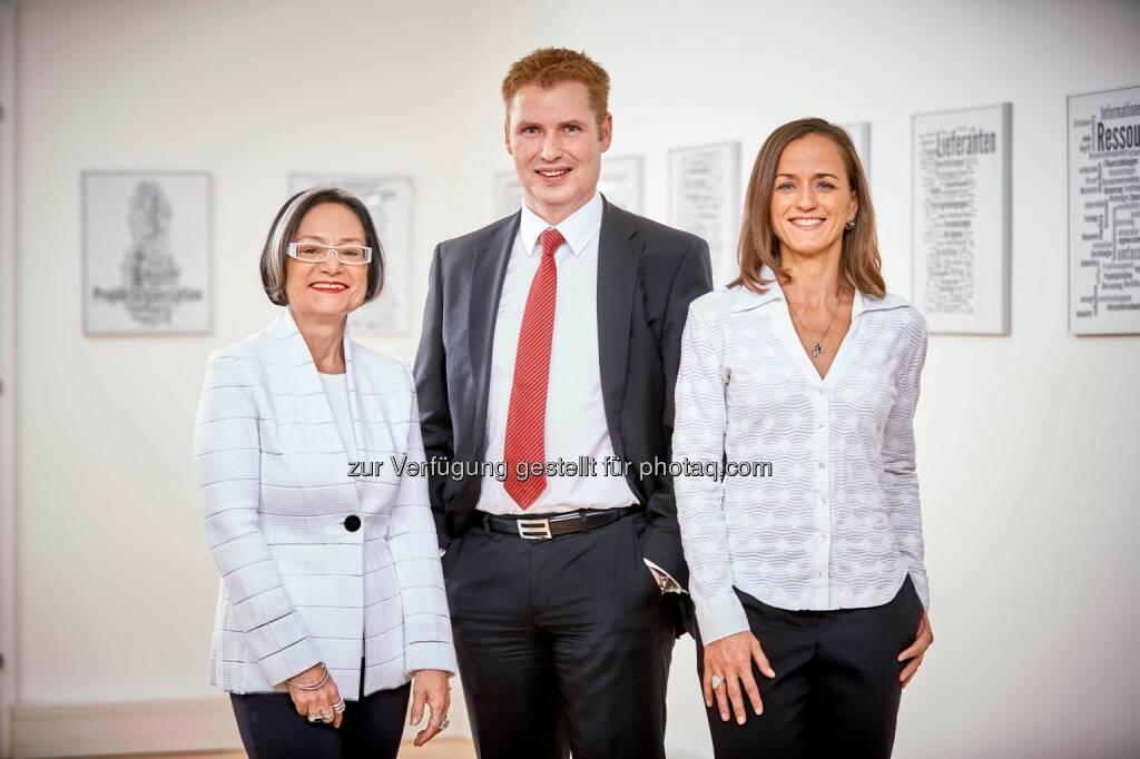 Brigitte Schaden (Präsidentin), Günther Lauer (Vorstandsvorsitzender) und Sabine Mantsch (operative Geschäftsführerin): Ab Februar ist das Managementboard von pma neu aufgestellt. (C) Horst Dockal   , © Aussender (06.02.2017)