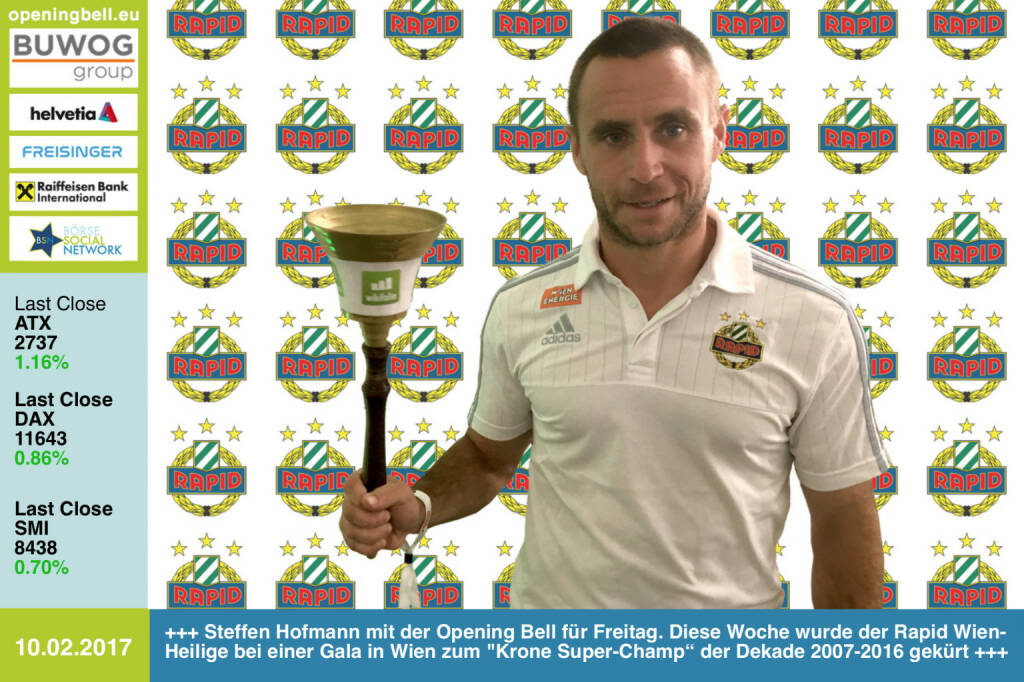 "#openingbell am 10.2.: Steffen Hofmann mit der Opening Bell für Freitag. Diese Woche wurde der Rapid Wien-Heilige bei einer Gala in Wien zum Krone Super-Champ"" der Dekade 2007-2016 gekürt http://www.skrapid.at https://www.facebook.com/groups/Sportsblogged  (10.02.2017)"