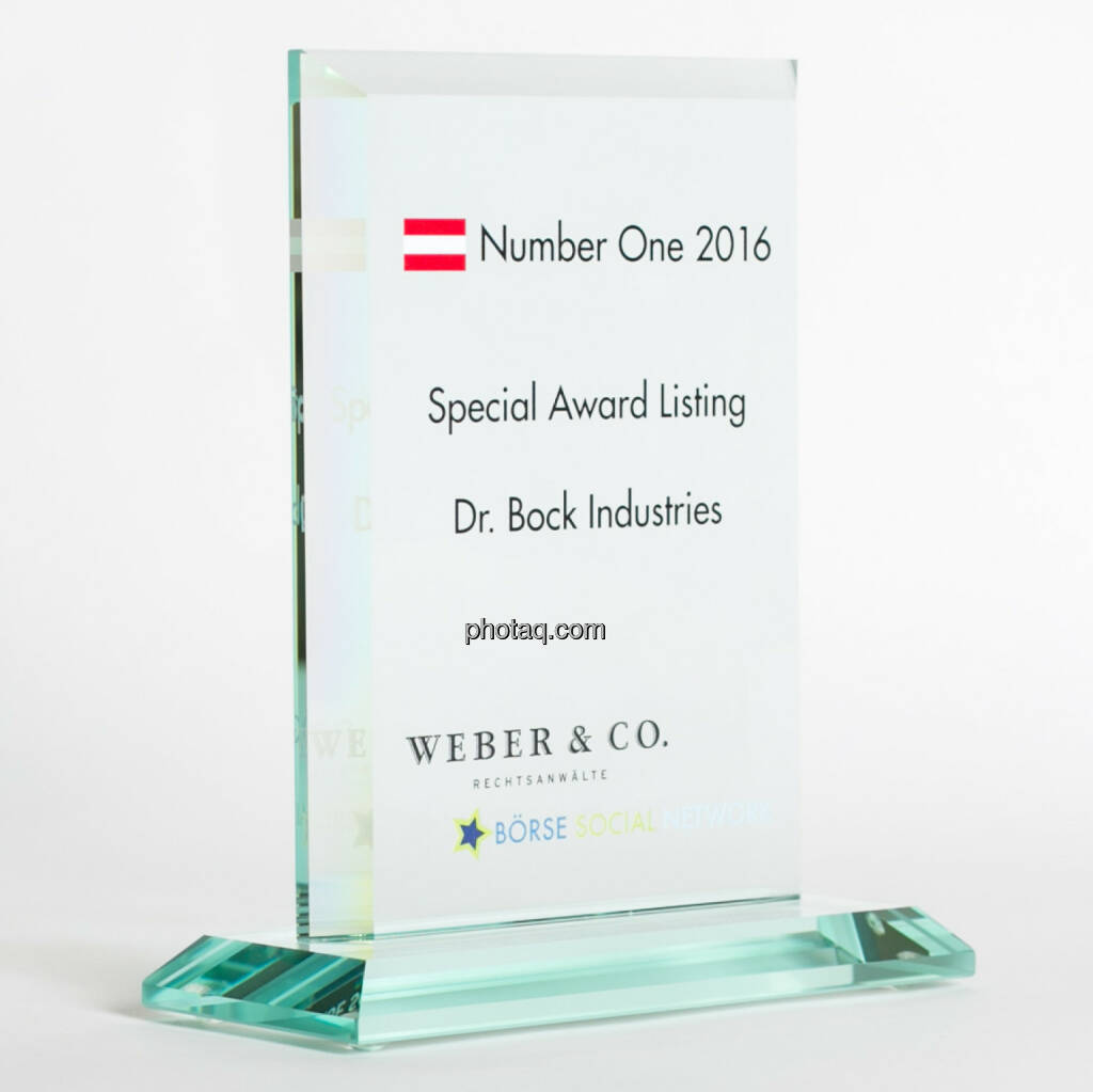 Number One Awards 2016 - Special Award Listing Dr. Bock Industries, © photaq/Martina Draper (13.02.2017)