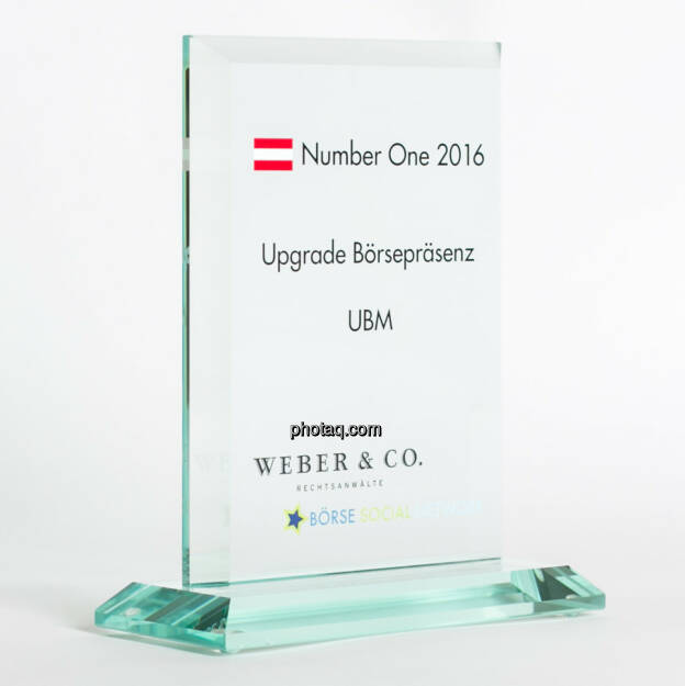 Number One Awards 2016 - Upgrade Börsepräsenz UBM, © photaq/Martina Draper (13.02.2017)