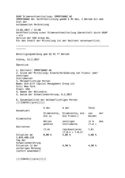 Och-Ziff meldet Einstieg bei Immofinanz, Seite 1/5, komplettes Dokument unter http://boerse-social.com/static/uploads/file_2110_och-ziff.pdf (14.02.2017)