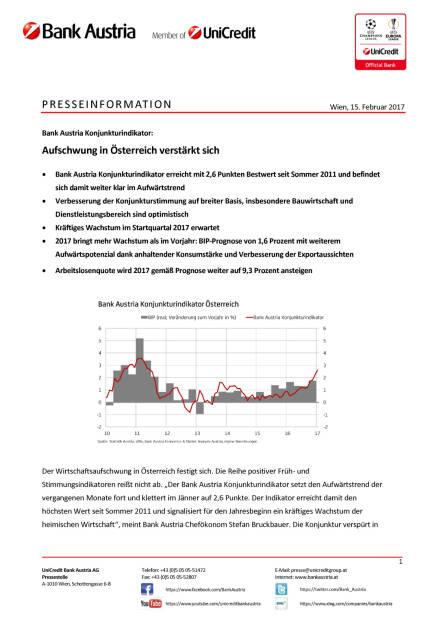 Bank Austria Konjunkturindikator: Aufschwung in Österreich verstärkt sich, Seite 1/5, komplettes Dokument unter http://boerse-social.com/static/uploads/file_2112_aufschwung_in_osterreich_verstarkt_sich.pdf (15.02.2017)
