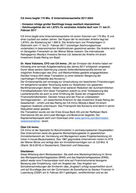 CA Immo begibt 175 Mio. € Unternehmensanleihe 2017-2024, Seite 1/2, komplettes Dokument unter http://boerse-social.com/static/uploads/file_2113_ca_immo_begibt_175_mio_unternehmensanleihe_2017-2024.pdf (15.02.2017)