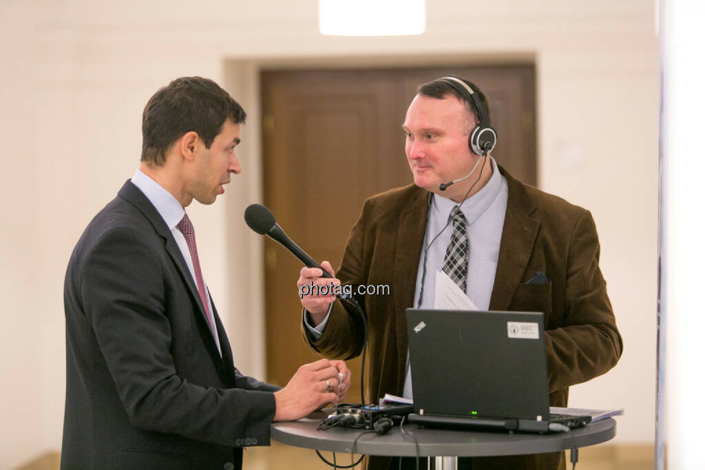 Michael Oplustil (Uniqa), Peter Heinrich (Börsenradio), © Martina Draper/photaq (16.02.2017)