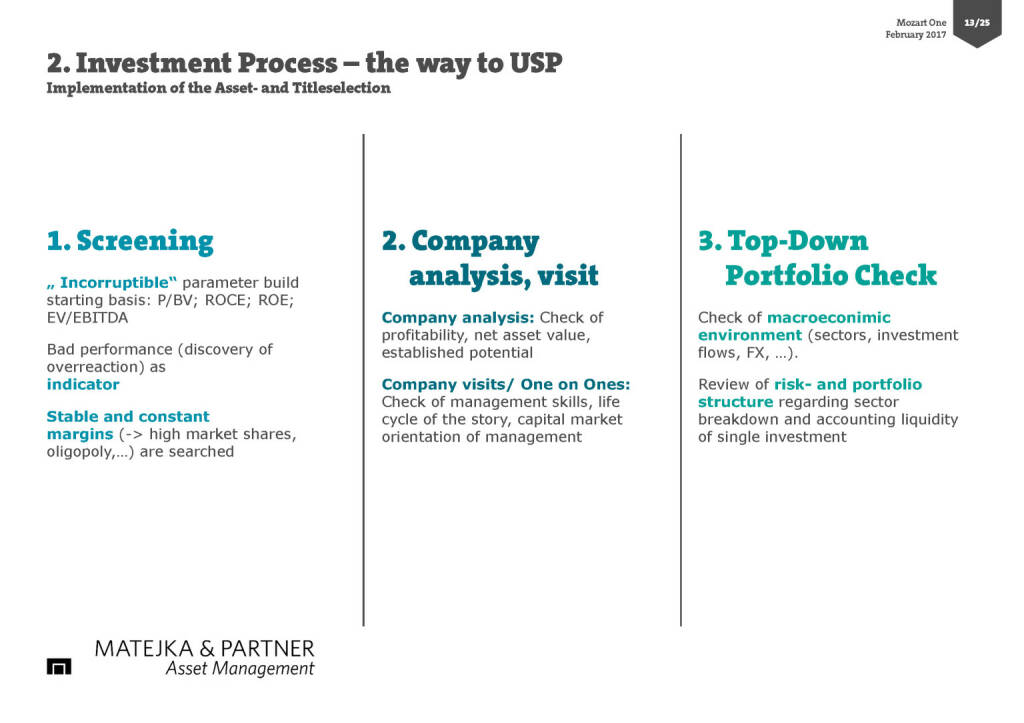 2. Investment Process – the way to USP (17.02.2017)
