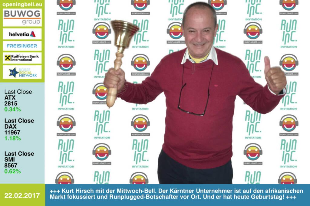 #openingbell am 22.2.: Kurt Hirsch mit der Opening Bell für Mittwoch. Der Kärntner Unternehmer ist auf den afrikanischen Markt fokussiert und Runplugged-Botschafter vor Ort. Und er hat heute Geburtstag! Happy Birthday! http://www.greendesertintl.com http://www.runplugged.com http://www.runinc.at https://www.facebook.com/groups/Sportsblogged (22.02.2017)