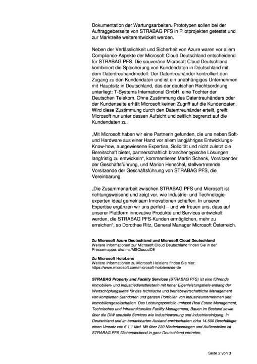 Strabag PFS startet System- und Entwicklungspartnerschaft mit Microsoft, Seite 2/3, komplettes Dokument unter http://boerse-social.com/static/uploads/file_2124_strabag_pfs_startet_system-_und_entwicklungspartnerschaft_mit_microsoft.pdf