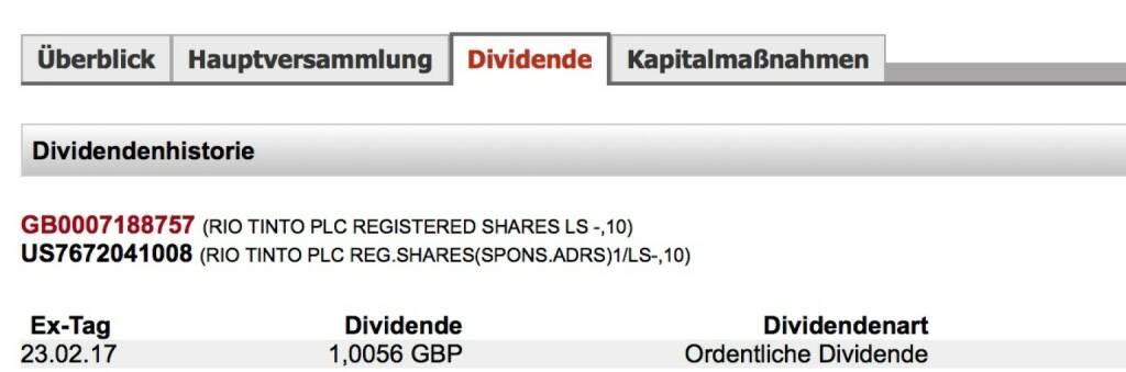 Indexevent Rosinger-Index 19: Rio Tinto-Dividende 23.2. Dividende 1,0056 GBP (1,1847 Eur) -> Erhöhung Stückzahl um 2,75 Prozent (23.02.2017)