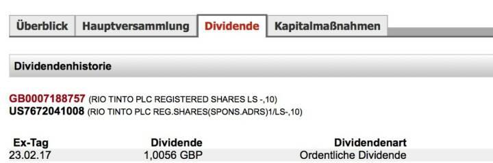 Indexevent Rosinger-Index 19: Rio Tinto-Dividende 23.2. Dividende 1,0056 GBP (1,1847 Eur) -> Erhöhung Stückzahl um 2,75 Prozent
