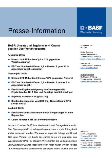 BASF: Umsatz und Ergebnis im 4. Quartal deutlich über Vorjahresquartal, Seite 1/8, komplettes Dokument unter http://boerse-social.com/static/uploads/file_2127_basf_umsatz_und_ergebnis_im_4_quartal_deutlich_uber_vorjahresquartal.pdf (24.02.2017)