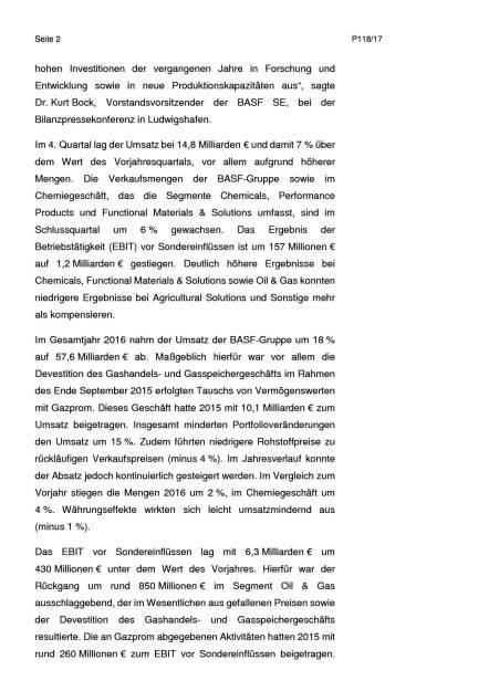 BASF: Umsatz und Ergebnis im 4. Quartal deutlich über Vorjahresquartal, Seite 2/8, komplettes Dokument unter http://boerse-social.com/static/uploads/file_2127_basf_umsatz_und_ergebnis_im_4_quartal_deutlich_uber_vorjahresquartal.pdf