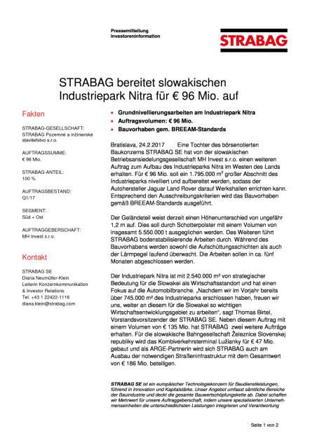 Strabag bereitet slowakischen Industriepark Nitra für 96 Mio. Euro auf, Seite 1/2, komplettes Dokument unter http://boerse-social.com/static/uploads/file_2128_strabag_bereitet_slowakischen_industriepark_nitra_fur_96_mio_euro_auf.pdf