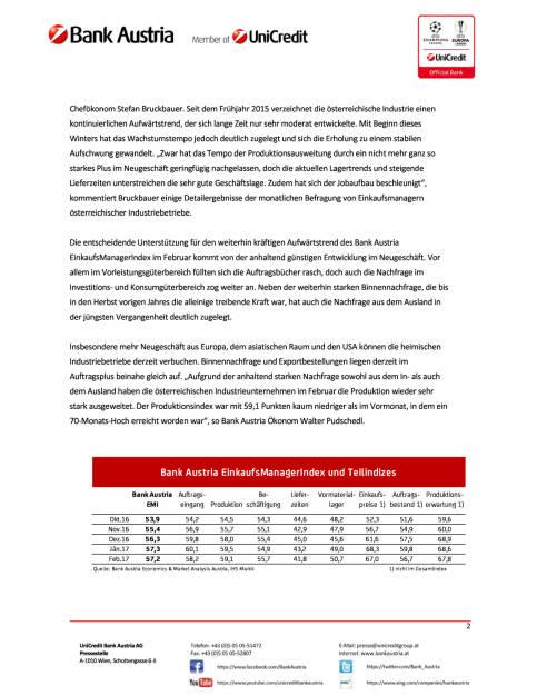 Bank Austria EinkaufsManagerIndex im Februar: Österreichs Industrie weiter gut in Fahrt, Seite 2/4, komplettes Dokument unter http://boerse-social.com/static/uploads/file_2129_bank_austria_einkaufsmanagerindex_im_februar_osterreichs_industrie_weiter_gut_in_fahrt.pdf (27.02.2017)