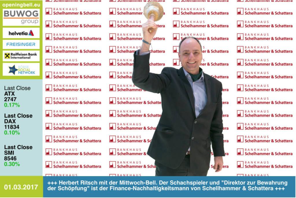 #openingbell am 1.3.: Herbert Ritsch mit der Opening Bell für Mittwoch. Der Schachspieler und Direktor zur Bewahrung der Schöpfung ist der Finance-Nachhaltigkeitsmann von Schellhammer & Schattera http://www.schellhammer.at https://www.facebook.com/groups/GeldanlageNetwork/ (01.03.2017)