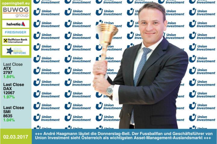 #openingbell am 2.3.: André Haagmann läutet die Opening Bell für Donnerstag. Für den Geschäftsführer von Union Investment und Fussballfan ist Österreich der wichtigste Auslandsmarkt im Asset Management https://www.union-investment.at https://www.facebook.com/groups/GeldanlageNetwork/