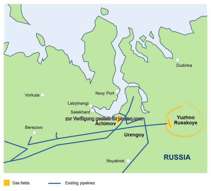 Karte Juschno Russkoje Gasfeld Westsibirien - OMV Aktiengesellschaft: OMV steigt in Upstream-Großprojekt in Russland ein (Fotocredit: OMV)