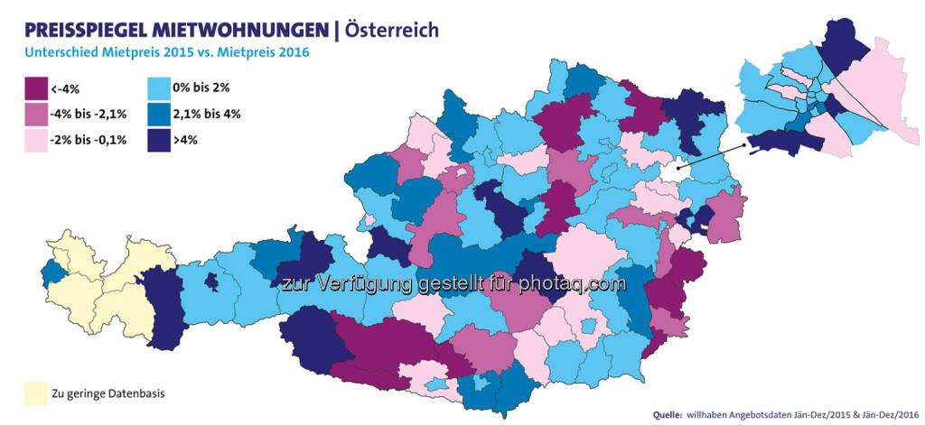 willhaben.at: willhaben-Studie: Auch m2-Preise für Mietwohnungen zogen 2016 an (Fotocredit: willhaben), © Aussender (07.03.2017)